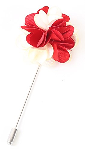 Flairs New York Gentleman's Essentials Premium Handmade Flower Lapel Pin Boutonniere (Pack of 1 Pin, Crimson Red/White [2 Tones Daisy])