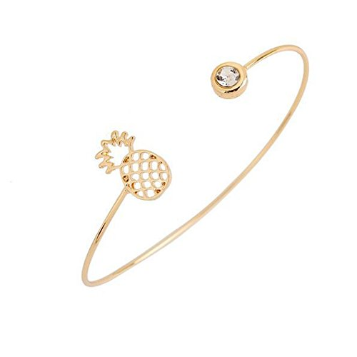 Plant Pineapple Open Bangle Bracelet-CHUYUN Fshion Accessories Brass Copper Casting Crystal Jewelry (Pineapple Jewelry)