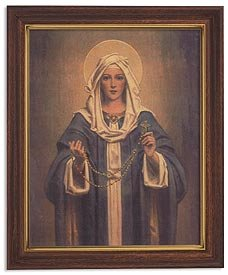 US Gifts Chambers: Our Lady of The Rosary Series Print in Woodtone Finish Frame