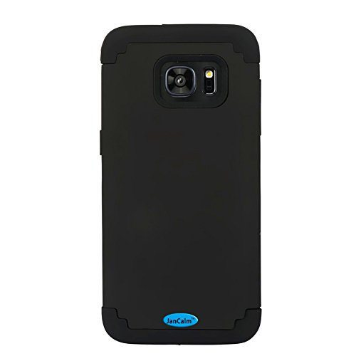 Galaxy S7 Edge Case,JanCalm Hard Soft Rubber Silicone Hybrid Shockproof Bumper Style Slim Fit Dual Layer Protective Cover for Samsung Galaxy S7 Edge (2016) + Crystal Pen (Black)