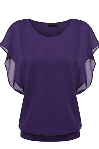 Zeagoo Women's Loose Casual Short Sleeve Chiffon Top T-shirt Blouse, Purple, Medium, (Purple Chiffon)