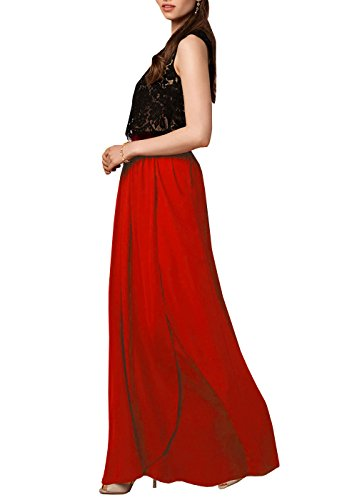 Women's Pieces Homecoming Two Lace red Dress Prom DYS Dresses Bridesmaid Chiffon dqOx4d