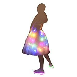 Tutu Skirt White+multicolor Light Up Ballet Dance Running Skirt