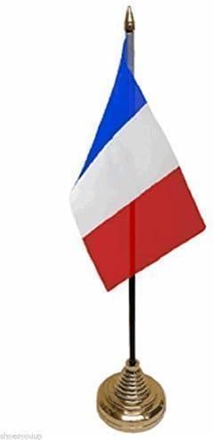 Acadia de Francia poliéster de escritorio de la bandera de 15,24 cm X 10,16 cm Base dorado: Amazon.es: Hogar