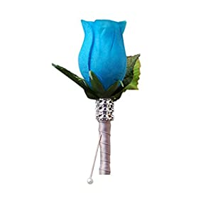Angel Isabella Boutonniere - Deep Blue Turquoise Rose with Gray Ribbon,pin Included 46
