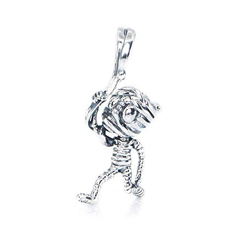 The Mummy Dangle Halloween Sterling Silver Dangle Charm Pendant S925, Halloween Zombie Silver Charm Pendant, Halloween Necklace, Pandora compatible Charm Jewellery