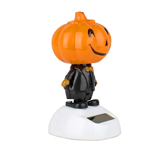 6goodeals Solar Power Motion Halloween, Solar Toy Light Activated Car Office Home Cubicle Holiday Decor Cute Novelty Gift Suncatcher (White Pumpkin Base) for $<!--$4.99-->