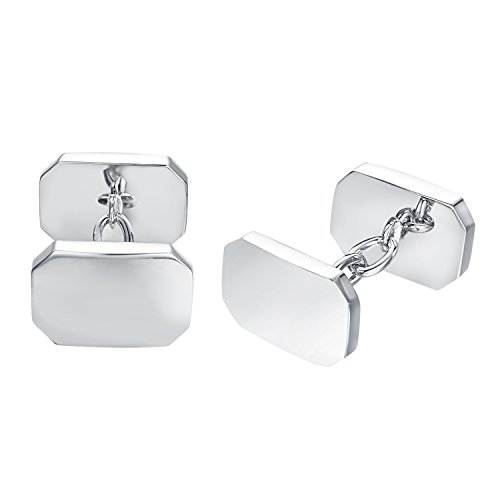 Chain White Cufflinks - Yoursfs Square Cufflink Blanks Classic Silver Plated Cuff Links for Men's Shirt Tuxedo