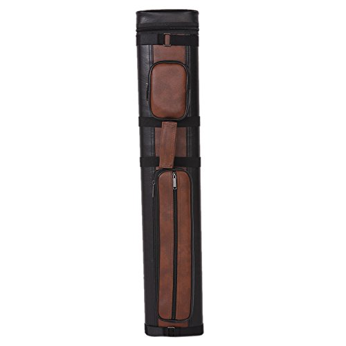 Z ZTDM 4 Holes 1/2 PU Pool Cue Billiard Stick Carrying Hard Case Black & Brown ()