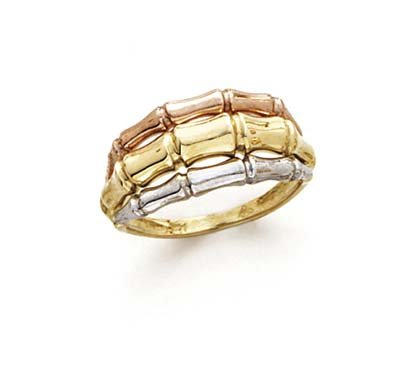 14k Tricolor Gold Bamboo Style Ring - Size 7.0