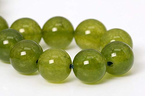 10MM Natural Olive Green Jade Gemstone Beads Grade AA Round Loose Beads 7