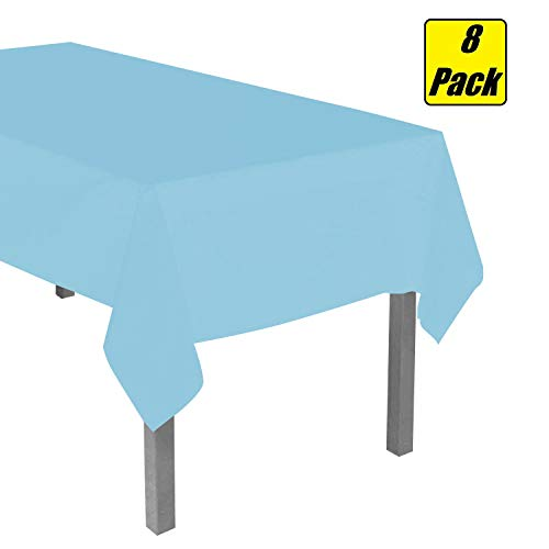 8 Pack Light Blue Disposable Plastic Tablecloth 54