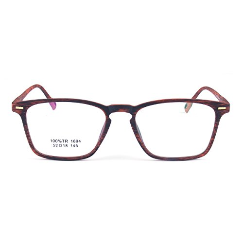 TR90 Fashion Wooden Grain Eyeglasses Frame Men Women Prescription Spectacles for Male can replace Myopia lens female points with clear plain lens - Wooden Spectacle Frames