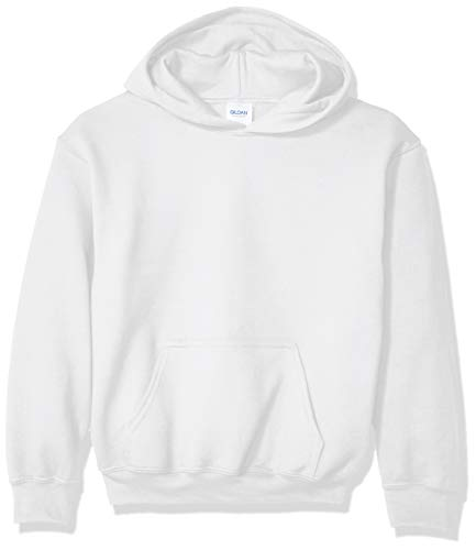 Gildan Kids' Big Hooded Youth Sweatshirt, White, Medium ()