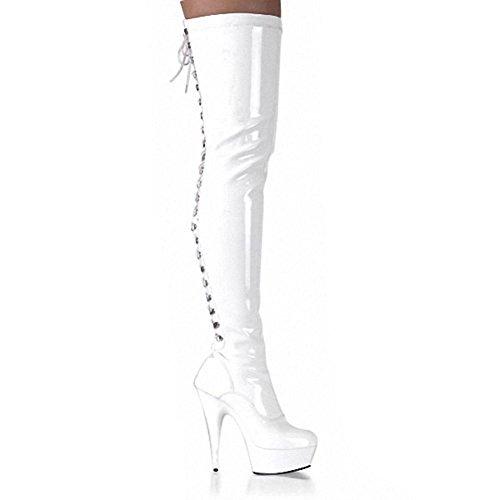 wdjjjnnnv Women Long Boots Over Knee Behind Lacing Leather Super High heels Model Nightclub Pole Dance Shoes WHITE-35 OX93kKea