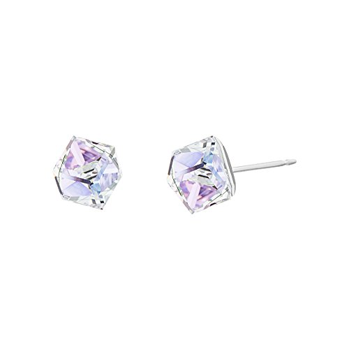 (LESA MICHELE Lavender Prism Crystal Cube Earrings for Women in Stainless Steel made with Swarovski Crystals (Vitrail)