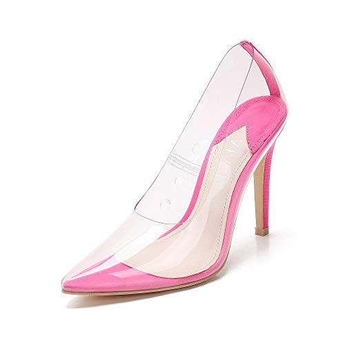 MACKIN J Pump Shoes 347-10 Transparent Pointed Toe Slip On Sexy Stiletto High Heel Dress Pump (11, NEON Fuschia)