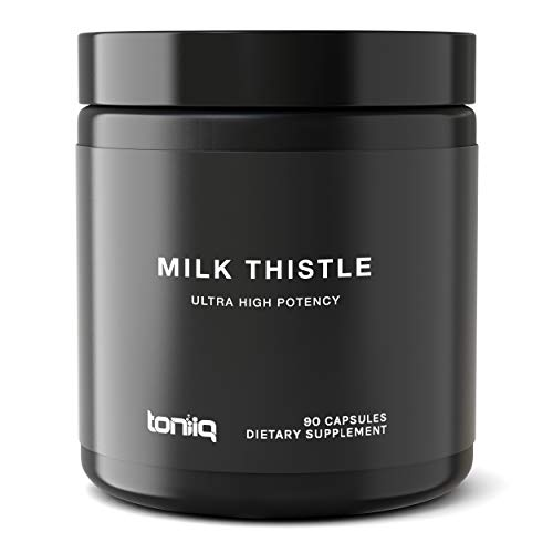 Ultra High Strength Milk Thistle Capsules - 25,000mg 50x Concentrated Extract - The Strongest Milk Thistle Supplement Available - 80% Silymarin - Liver Support Supplement - 90 Capsules (Best Quality Milk Thistle)