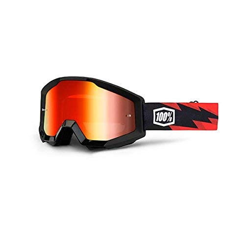 100% Unisex-Adult Goggle MX STRATA SLSH Mirror Lens Red (Black, Mirro Red, One Size)