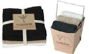 Now Designs Floursack Towel and Dishcloth Set of 6 Black, Oy