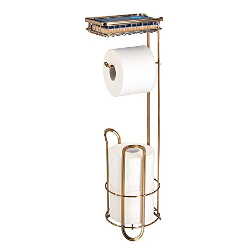 mDesign Freestanding Metal Wire Toilet Paper Roll Holder Stand and Dispenser with Storage Shelf for Cell, Mobile Phone - Bathroom Storage Organization - Holds 3 Mega Rolls - Soft - Toilet Brass Paper Stand