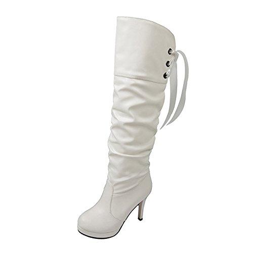 CH&TOU Da donna-Stivaletti-Formale / Casual-Comoda-A stiletto-Finta pelle-Nero / Bianco , white , us7.5 / eu38 / uk5.5 / cn38
