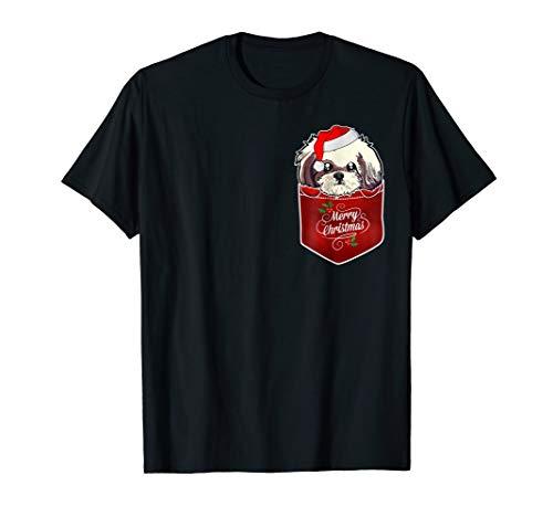 Shih Tzu with Santa Hat In Pocket Christmas T-Shirt