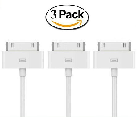 USB Sync Cable Charger Cord Data for iPhone 4 4S iPod 4G 4th Gen (3 Pack)