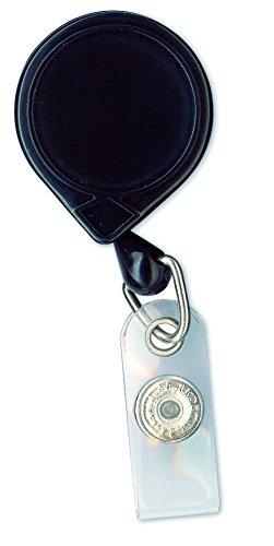 KEY-BAK MINI-BAK I.D. Badge Retractable Reel with 36' Nylon Cord, Steel Belt Clip, Vinyl ID Strap, Black, Made in the USA