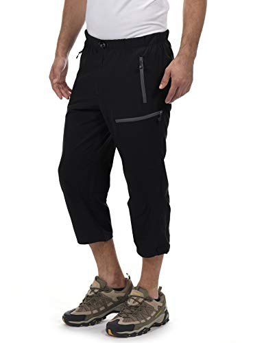 Little Donkey Andy Men's Outdoor Stretch Quick Dry Hiking 3/4 Pants Black Size L