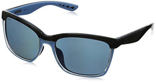 Costa Del Mar Anaa Sunglasses, Shiny Black/Crystal/Light Blue, Blue Mirror 580P (Crystal Blue Sunglasses)
