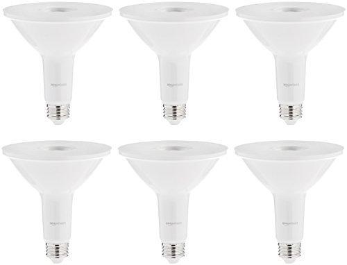 AmazonBasics 90 Watt 15,000 Hours Non-Dimmable 900 Lumens LED PAR38 Light Bulb - Pack of 6, Daylight