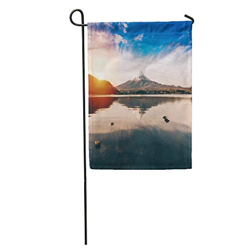 Andrea Back Garden Flag Blue Mt Fuji in Kawaguchiko Lake of Japan Mount Kawaguchi Home Yard House Decor Barnner Outdoor Stand 12x18 Inches Flag