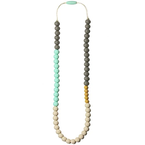 Mama & Little Olivia Silicone Baby Teething Necklace for Moms - Nursing Necklace in Sweet Mint - Teething Beads...
