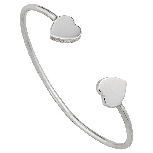 Mignon Faget Sweethearts Open Wire Bracelet with Hearts, Sterling Silver 6'' by Mignon Faget