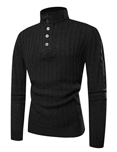 Rrive Mens Winter Ribbed Cable Knit Buttons Turtleneck Pullover Sweater Black L