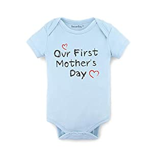 Gift for Mom – Our First Mother's Day Baby Bodysuit Mommy Infant Onesies 100% Cotton