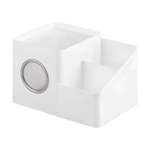 InterDesign Facial Tissue Cover and Storage Caddy for Bathroom Vanity Countertops – White/Matte Satin Boutique Box with Organizer
