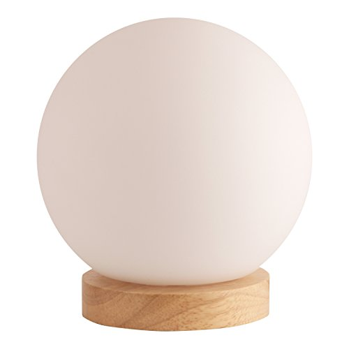 Light Accents Iris Table Lamp Natural Wooden Base with Round Glass Shade -