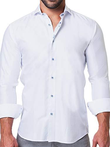 Maceoo Mens Designer Dress Shirt - Stylish & Trendy - Einstein Ripple White - Tailored Fit (Shirt Cotton Collar Italian Dress)