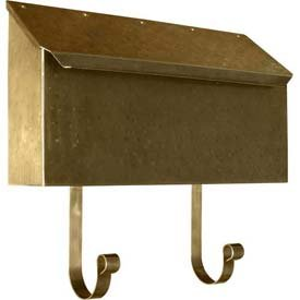(Provincial Series Horizontal Wall Mount Mailbox in Hammered Antique Brass)