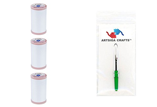 Coats & Clark Hand Quilting Cotton Thread 350 Yds (3-Pack) White Bundle with 1 Artsiga Crafts Seam Ripper S980-0100-3P ()