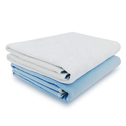 "Ultra Soft Quilted Washable and Reusable Incontinence Bed Underpads, 34""X36"" (2 Pack)"