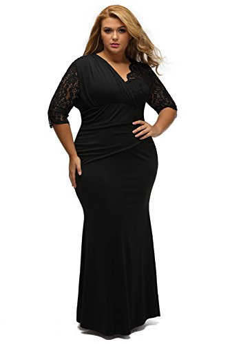 XAKALAKA-Womens-Lace-Sleeve-Evening-Gown-Wedding-Plus-Size-Maxi-Dress