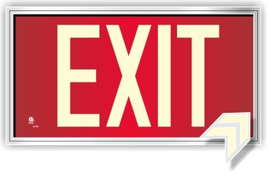 (Photoluminescent Exit Sign Red - Framed Flat Wall Mount. Code Approved UL 924/IBC 2018/NFPA 101 2018)