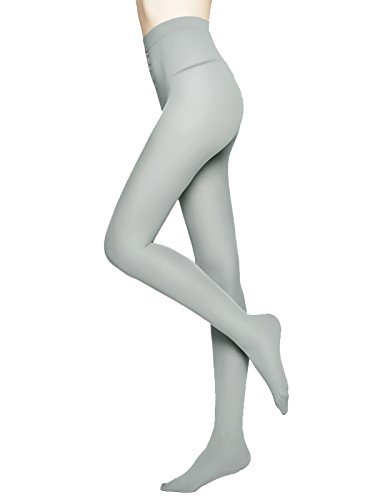 (MOOCHI Women 80 Denier Semi Opaque Pantyhose Tights (Gray))