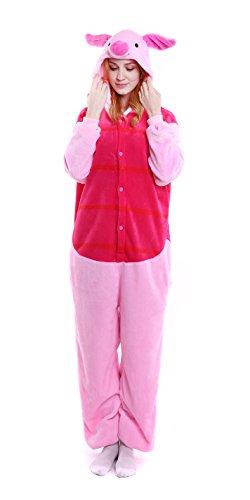 Piglet Costumes For Adults (Dingwangyang Uinisex Adult Pajamas Onesie Kigurumi Cosplay Costumes Animal Jumpsuit Piglet-S)