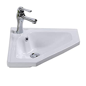 Image of Home Improvements Renovator's Supply Modern Bathroom Wall Mount Corner Sink White Single Faucet Hole With Overflow