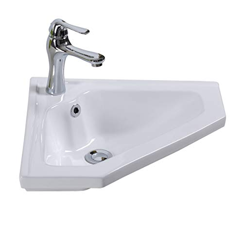(Renovator's Supply Modern Bathroom Wall Mount Corner Sink White Single Faucet Hole With Overflow)