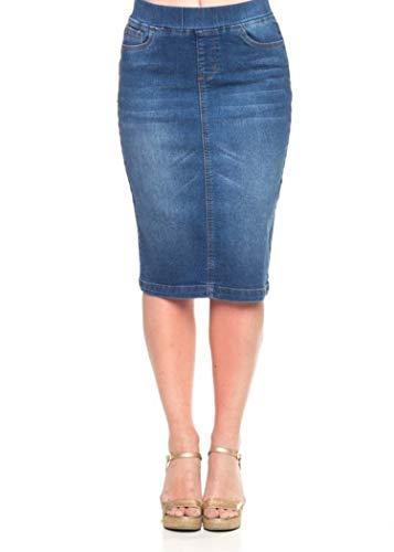 Stretch Denim Pencil Skirt - GoModest Women's Midi Casual Modest Knee Length Denim Jean Pencil Skirt (2X)